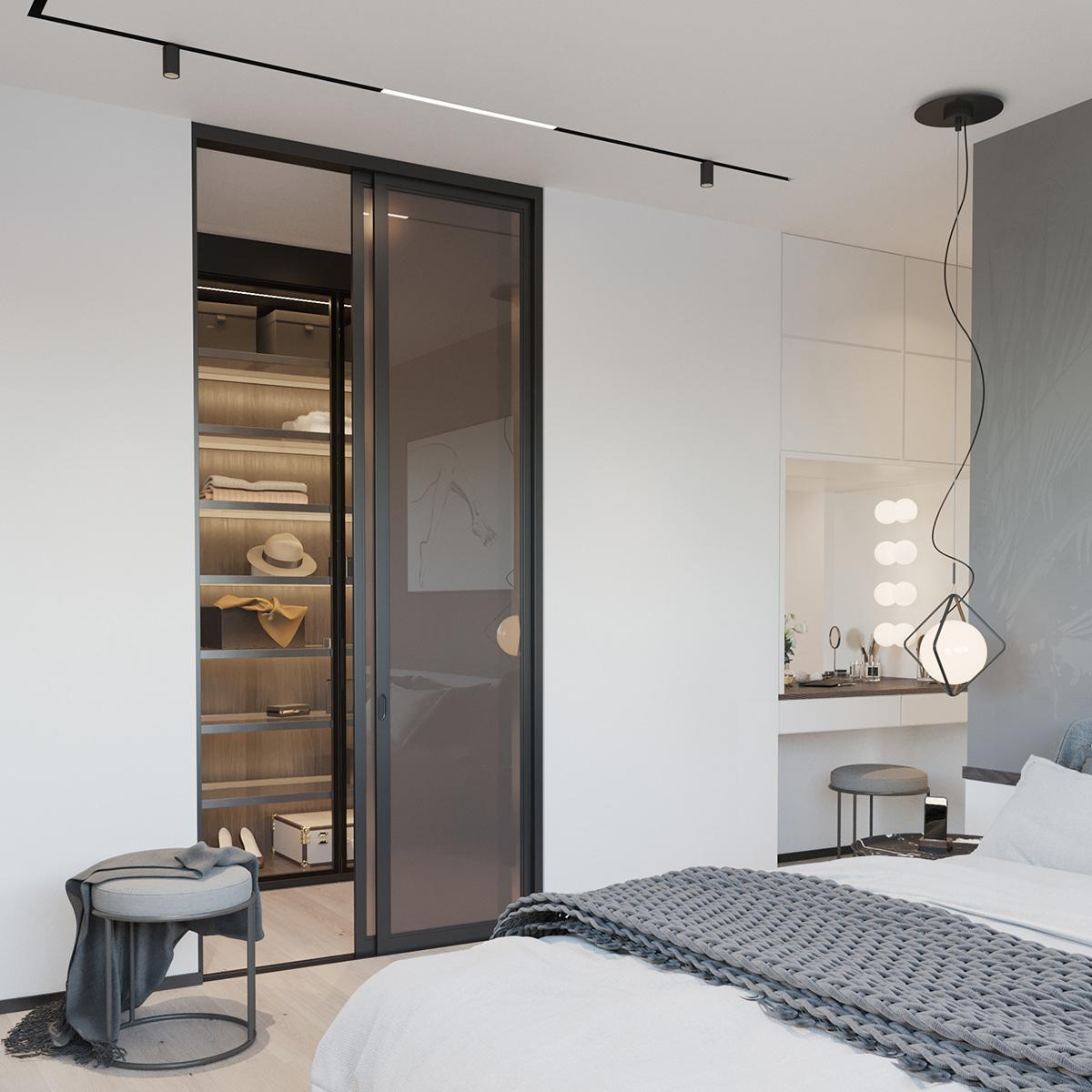 Schlafzimmer mit Ankleide und Kosmetikbereich